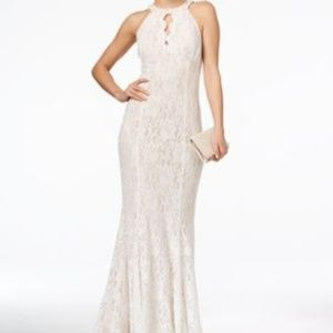 White Lace Prom Dress With Glitter Halter Keyhole
